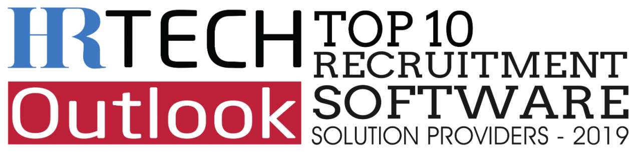 "The HR Tech Outlook logo with text reading ""TOP 10 RECRUITMENT SOFTWARE SOLUTION PROVIDERS - 2019"""