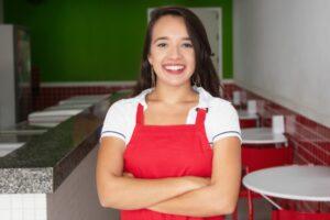 A seasonal employee at a restaurant