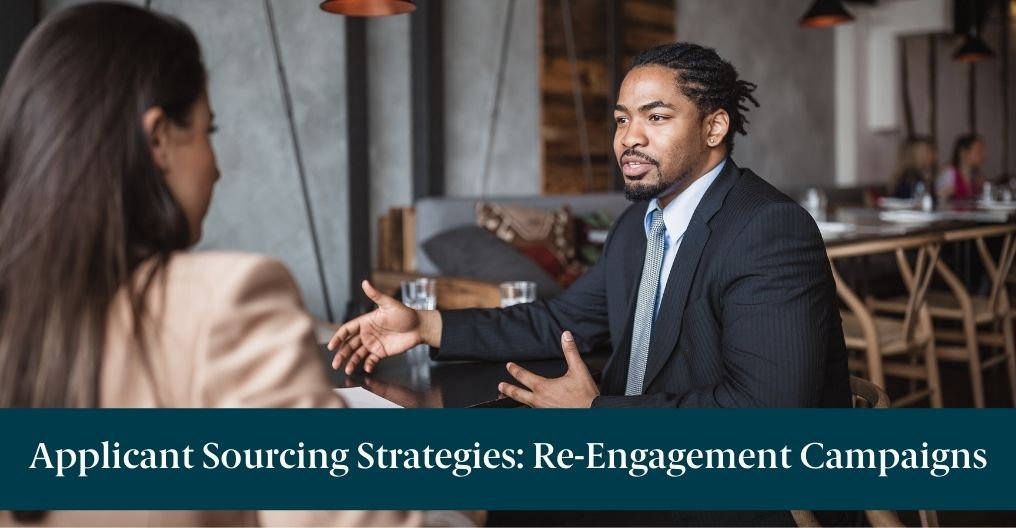 """People interviewing in a restaurant with text reading, """"Applicant Sourcing Strategies: Re-Engagement Campaigns"""""""