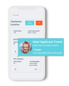 """A phone with a pop-up that reads """"Ideal Applicant Found"""""""