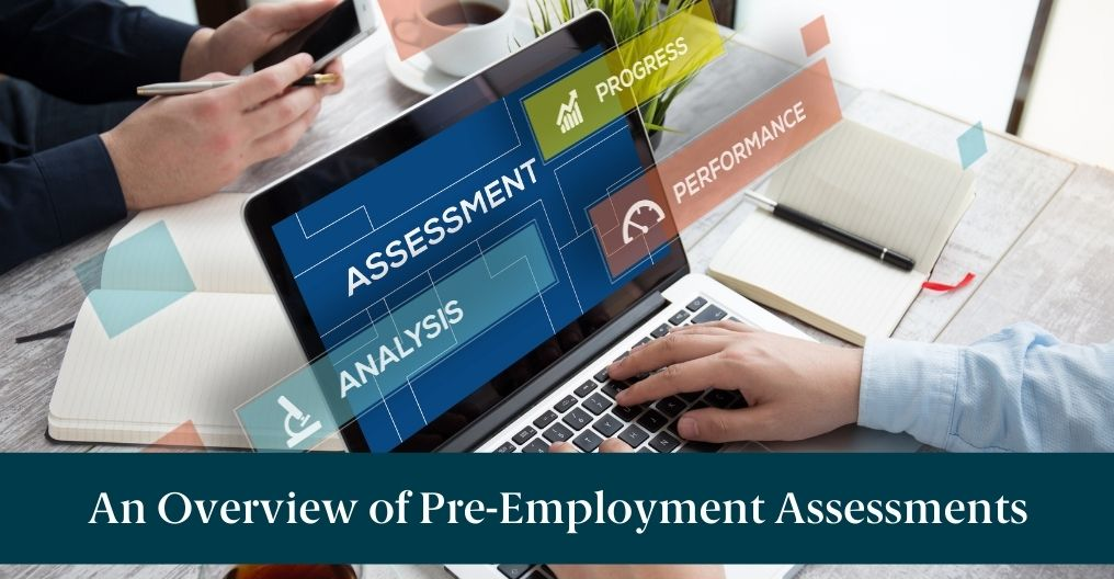 """Someone on a laptop with text reading """"An Overview of Pre-Employment Assessments"""""""