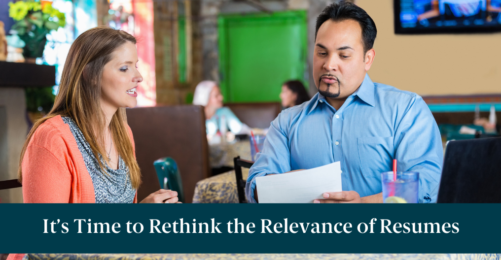 """A man and woman in an interview and text reading, """"It's Time to Rethink the Relevance of Resumes"""""""